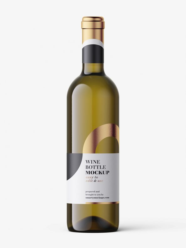 White wine in dark bottle mockup