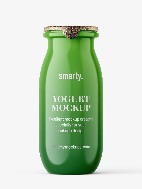 Yogurt bottle mockup / glossy