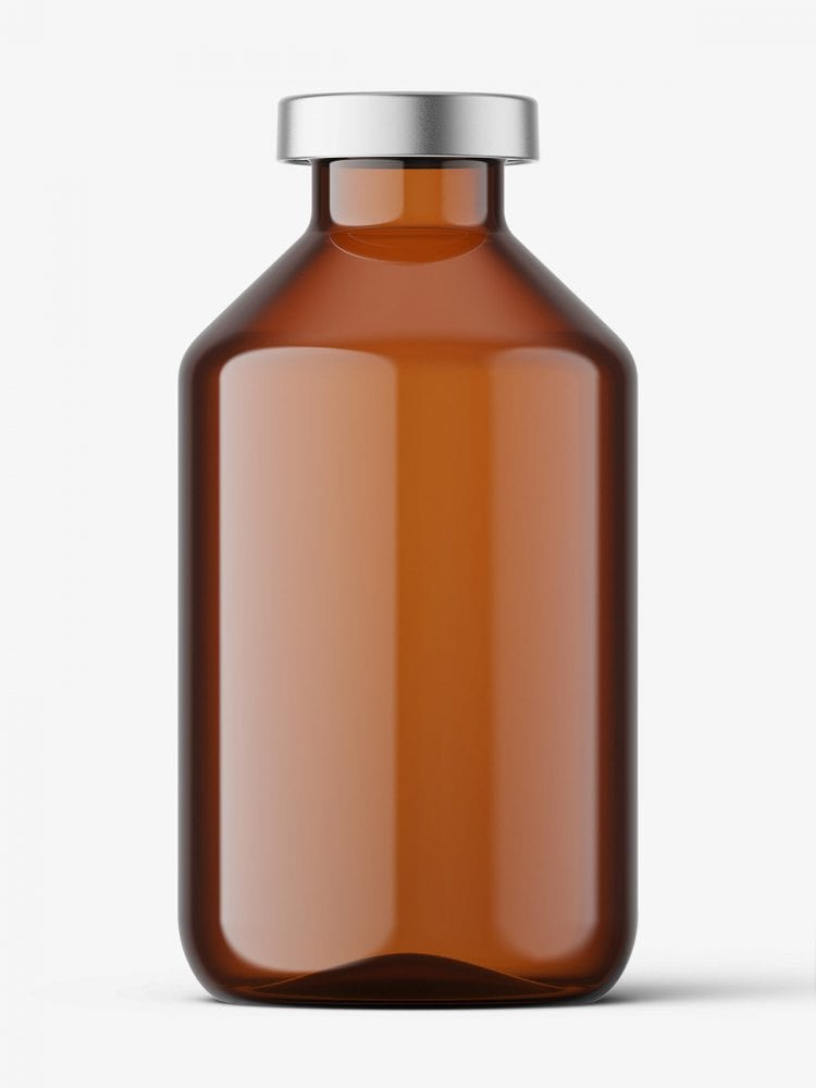 Amber bottle with crimp seal mockup / 50ml