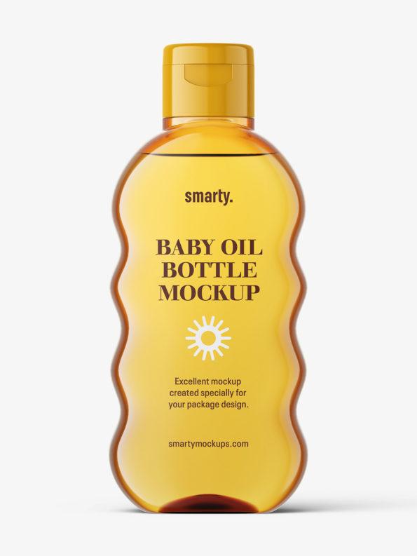 Baby oil bottle mockup / orange