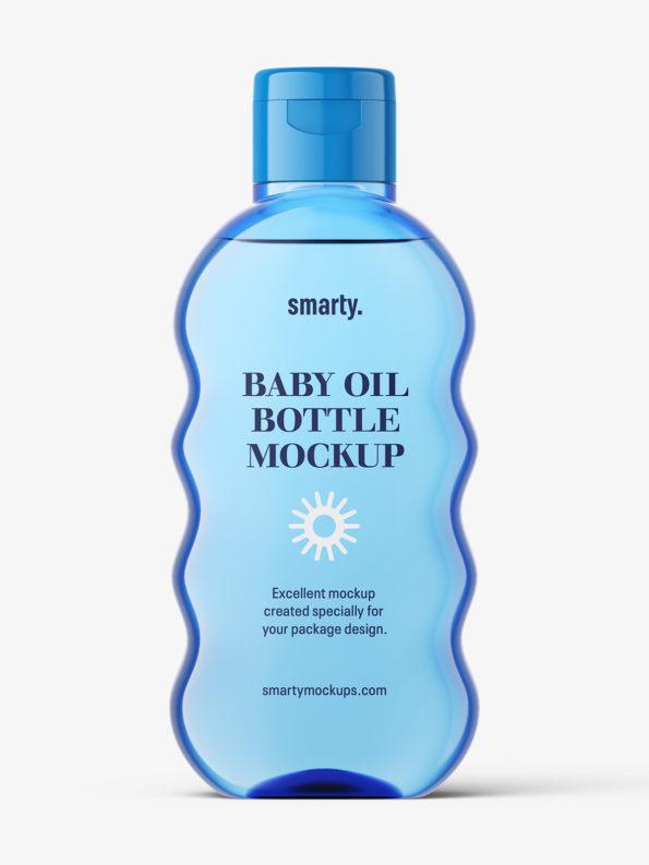 Baby oil bottle mockup / blueBaby oil bottle mockup / blue