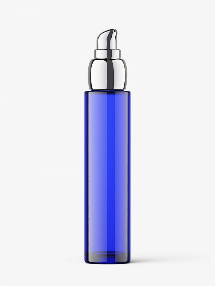 Glass bottle with airless pump mockup / amber