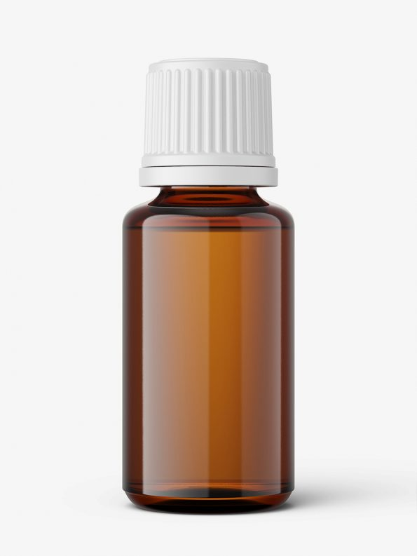Amber essential oil bottle mockup / 20ml