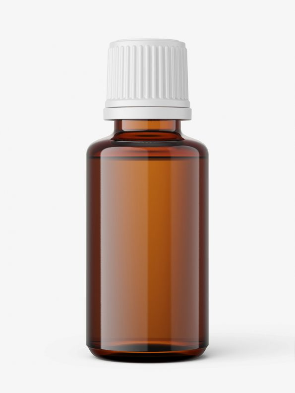 Amber essential oil bottle mockup / 30ml