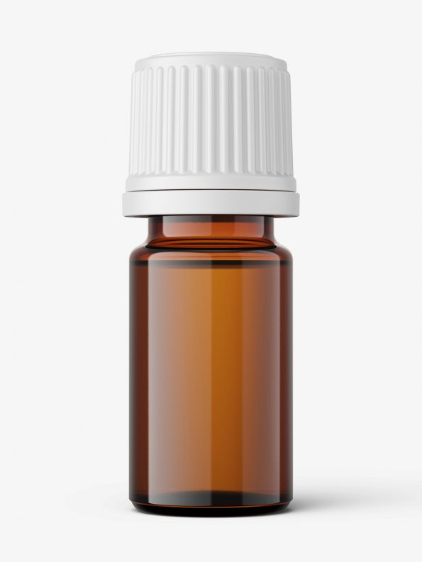 Amber essential oil bottle mockup / 5ml