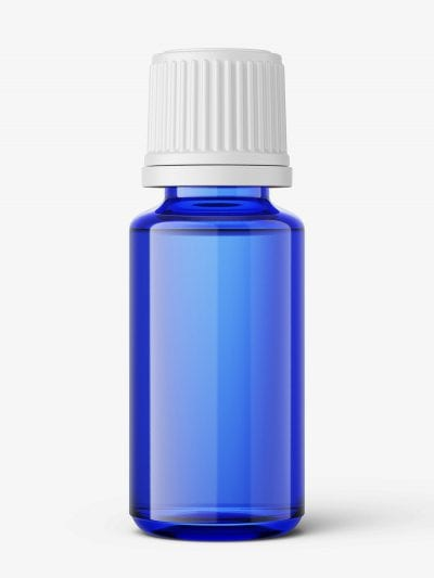 Blue essential oil bottle mockup / 15ml