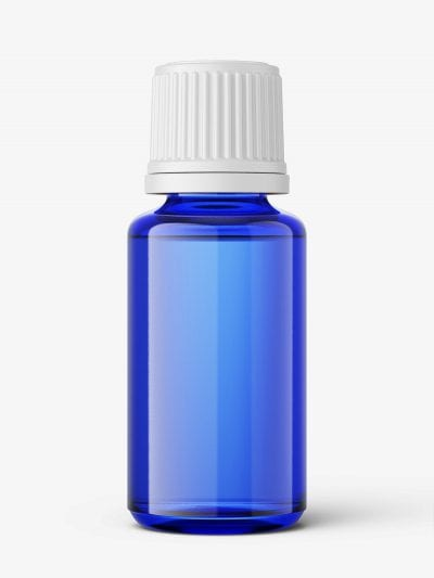 Blue essential oil bottle mockup / 20ml