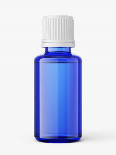 Blue essential oil bottle mockup / 30ml