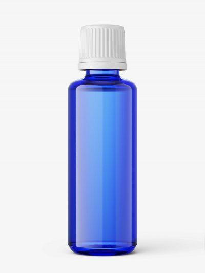 Blue essential oil bottle mockup / 50ml