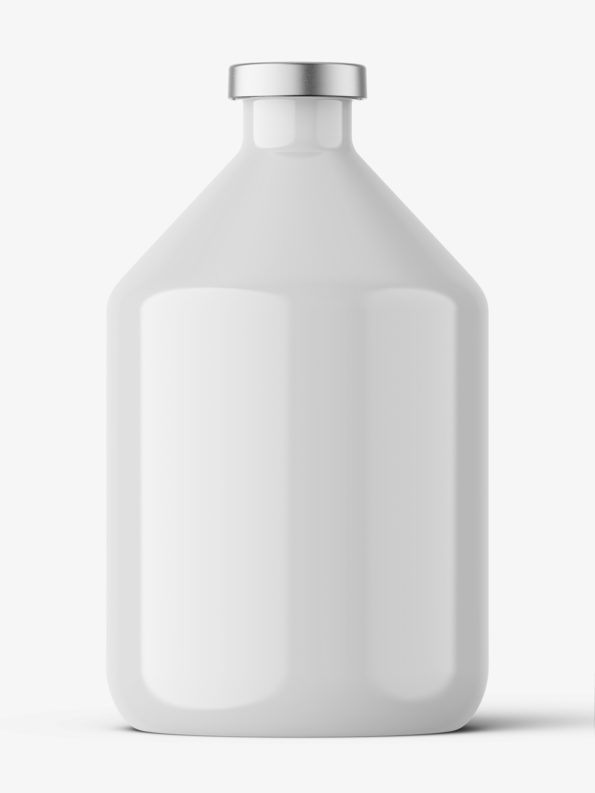 Glossy bottle with crimp seal mockup / 200ml