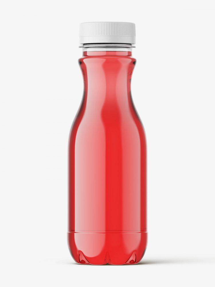 Red juice bottle mockup