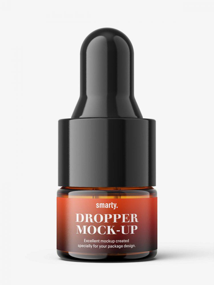 Small dropper bottle mockup / amber