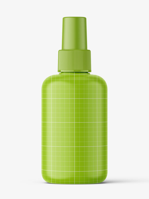 Transparent bottle with spray cap mockup