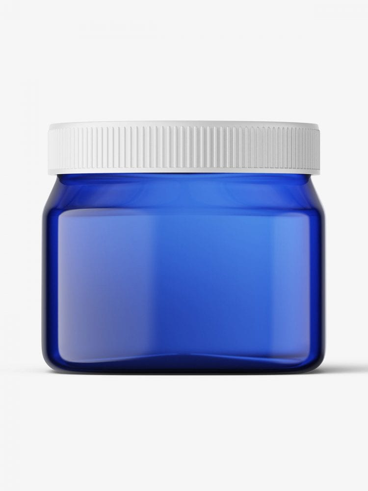 Blue square base jar mockup / 16oz