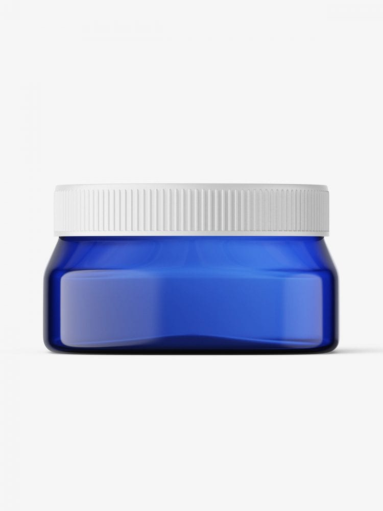 Blue square base jar mockup / 4oz