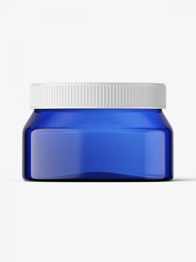 Blue square base jar mockup / 6oz