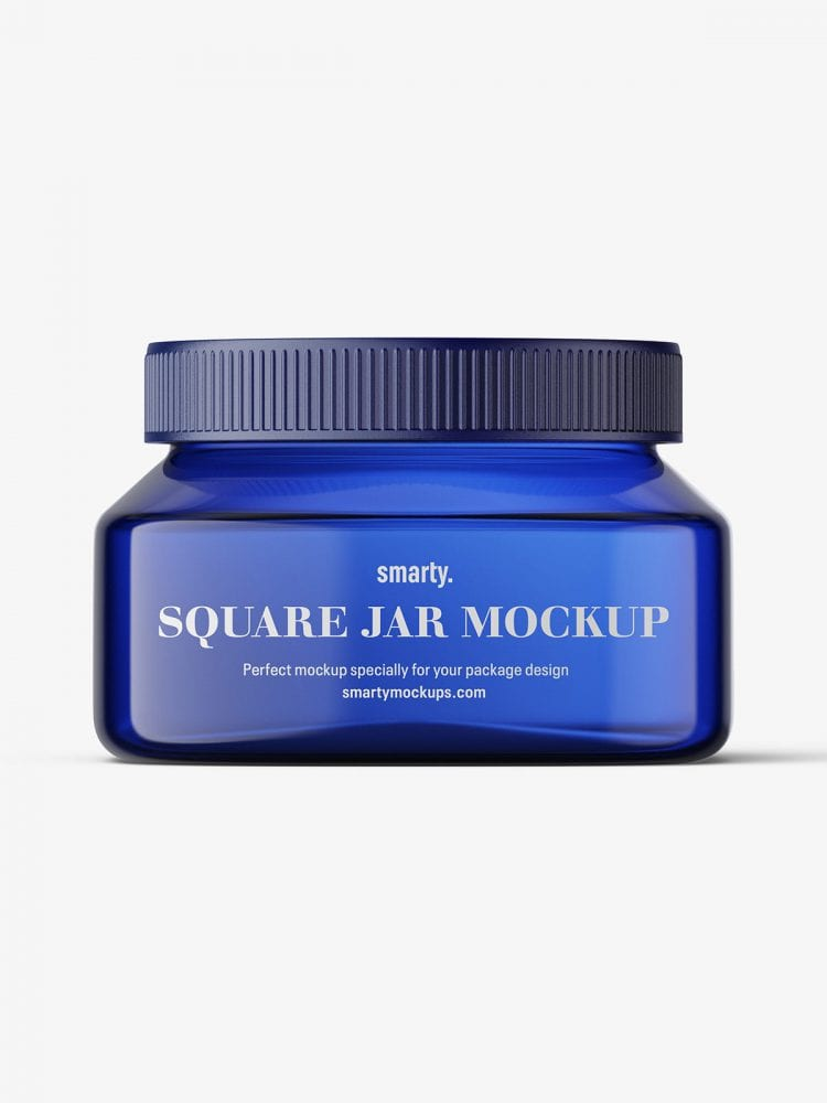 Blue square base jar mockup / 8oz