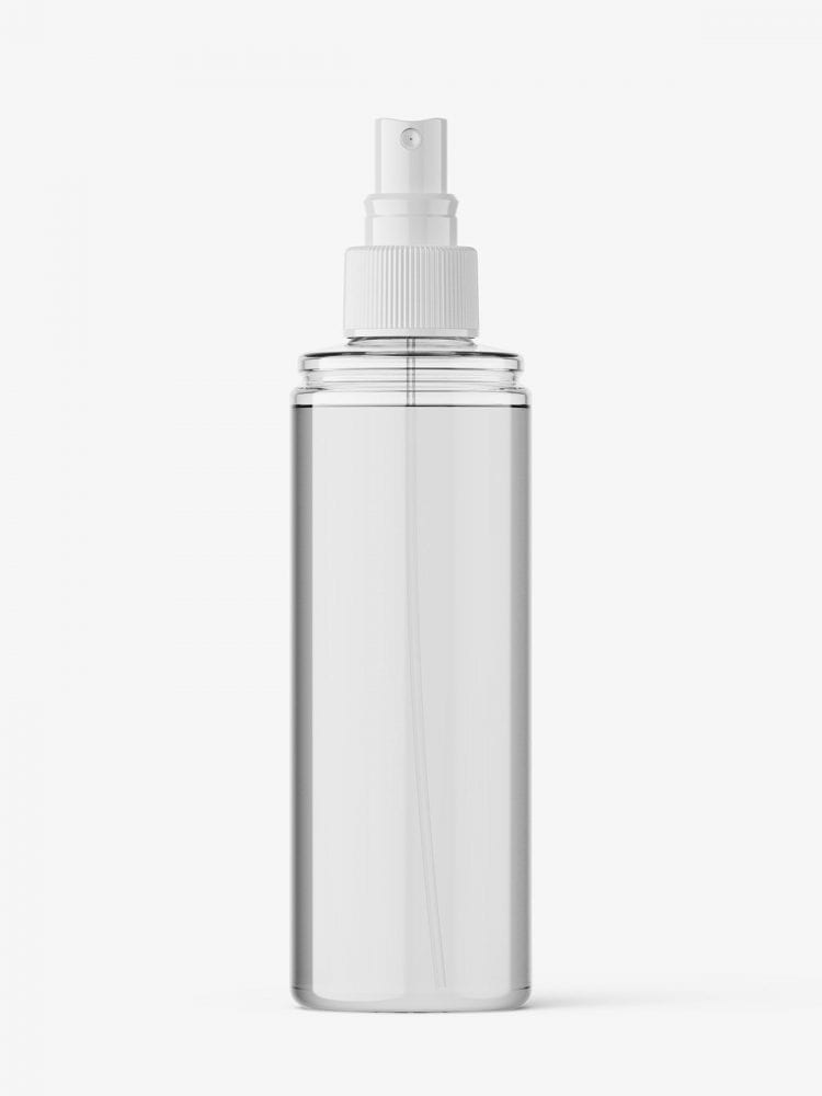 Transparent bottle with spray cap mockup