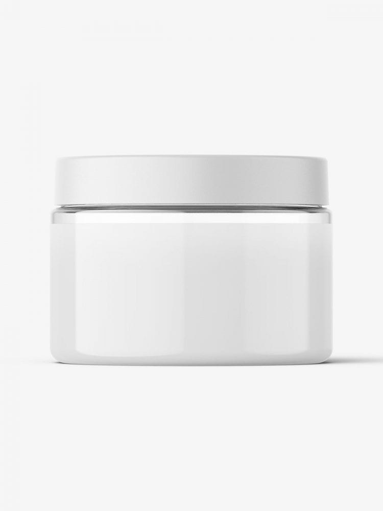 Transparent jar filled with cream mockup / 150ml