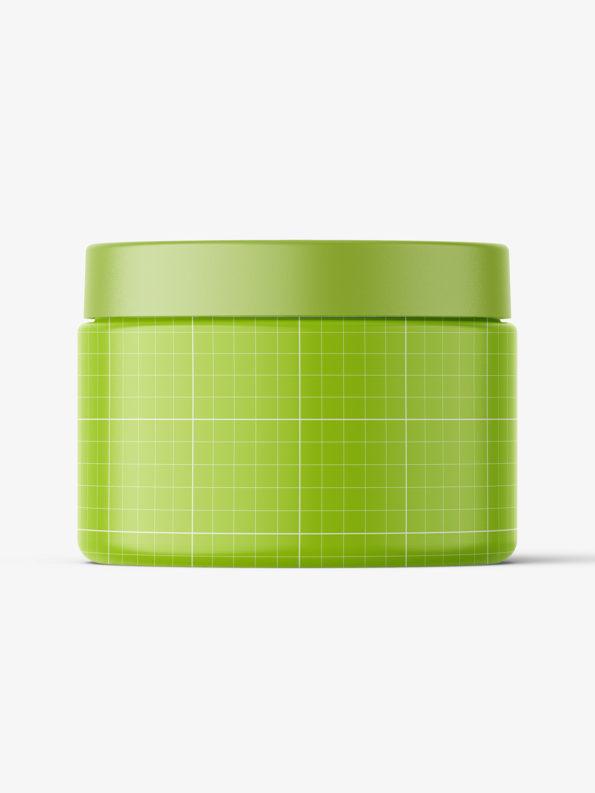 Transparent jar filled with cream mockup / 150ml