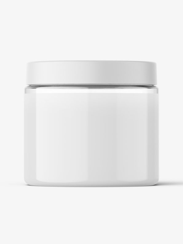 Transparent jar filled with cream mockup / 200ml