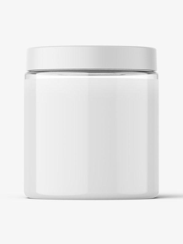Transparent jar filled with cream mockup / 250ml