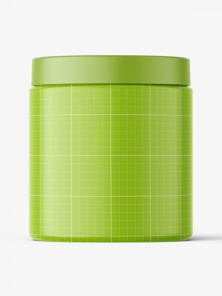 Transparent jar filled with gel mockup / 300ml