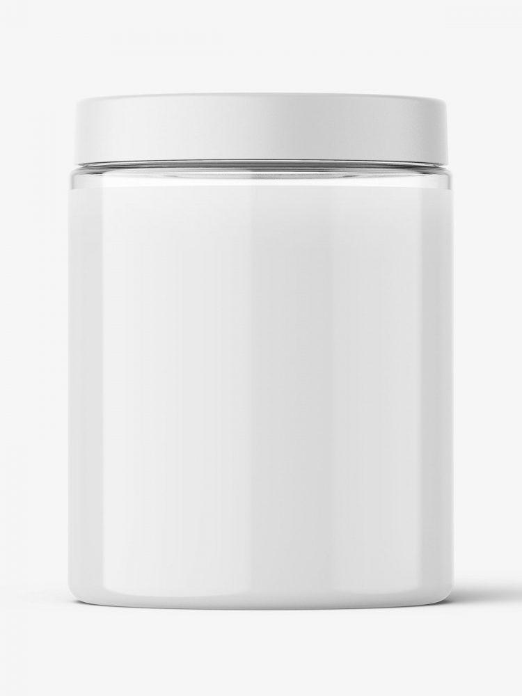 Transparent jar filled with cream mockup / 300ml