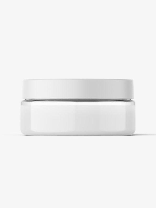 Transparent jar filled with cream mockup / 75ml