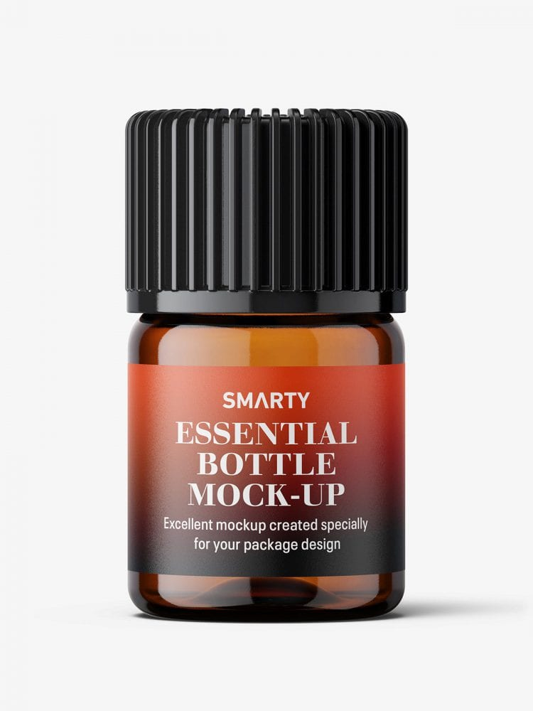 Small amber essential bottle mockup / 2ml