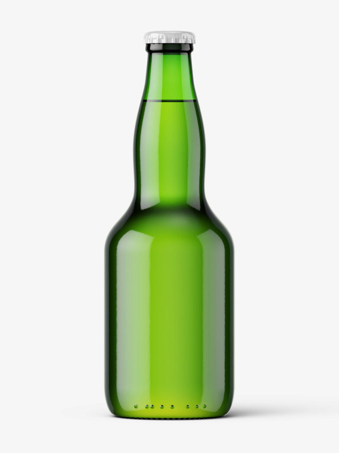 Green beer bottle mockup