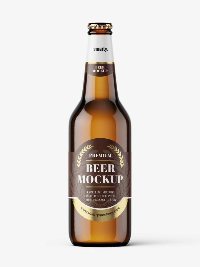 Light beer bottle mockup