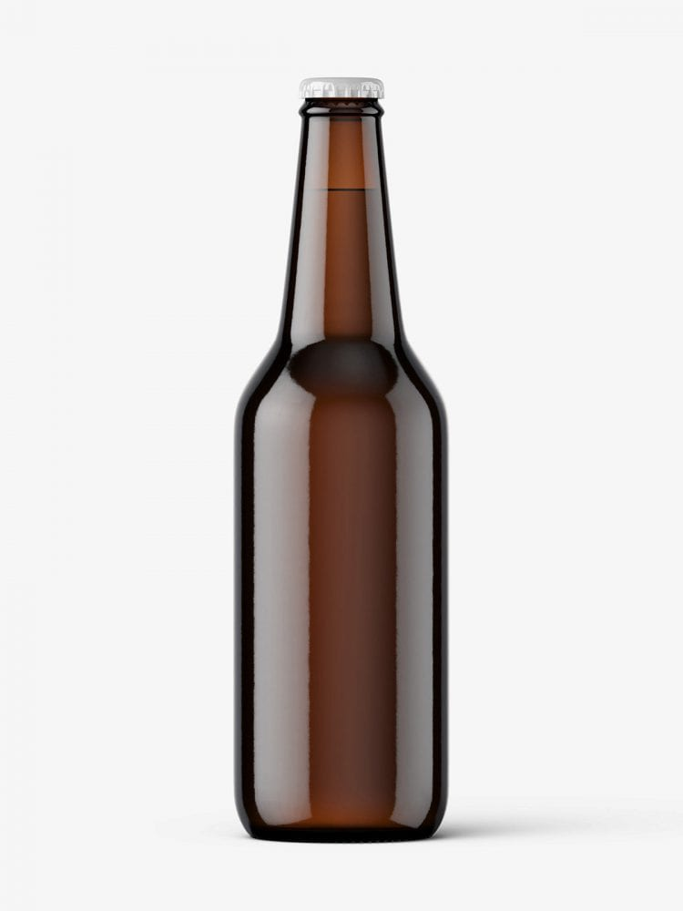 Dark beer bottle mockup