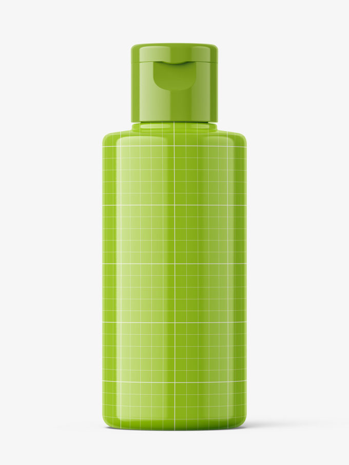 Glossy bottle with flip top mockup / 100 ml