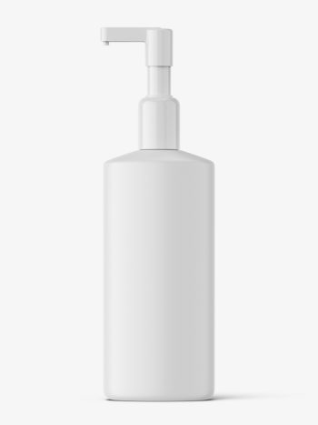 Matt cosmetic bottle with pump mockup
