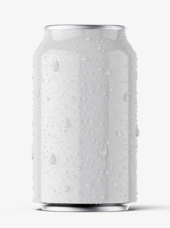 Glossy beer can with condensation mockup / 330 ml