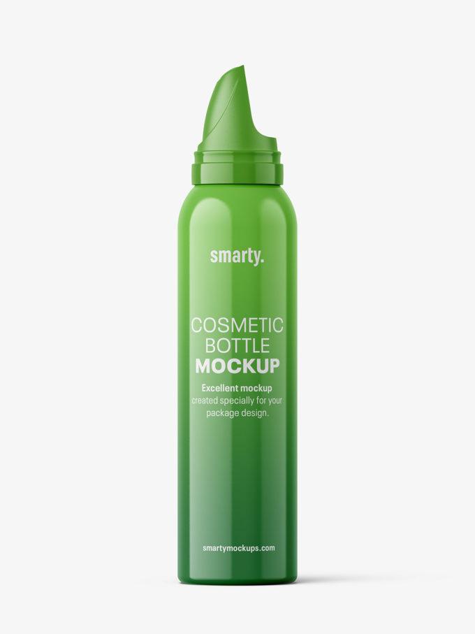 Glossy hair mousse bottle mockup