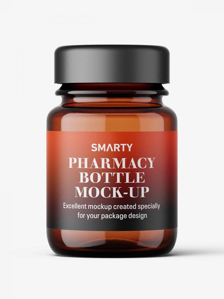 Pharmaceutical jar mockup / 30ml / amber