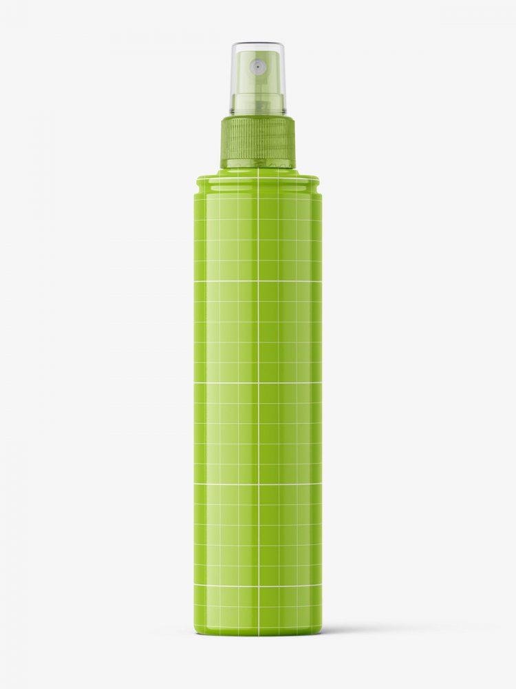 Glossy spray bottle mockup