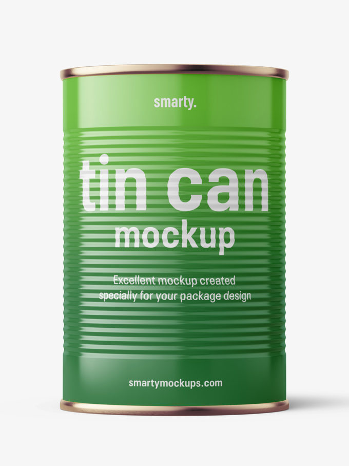 Glossy tin can with label mockup / 425 ml