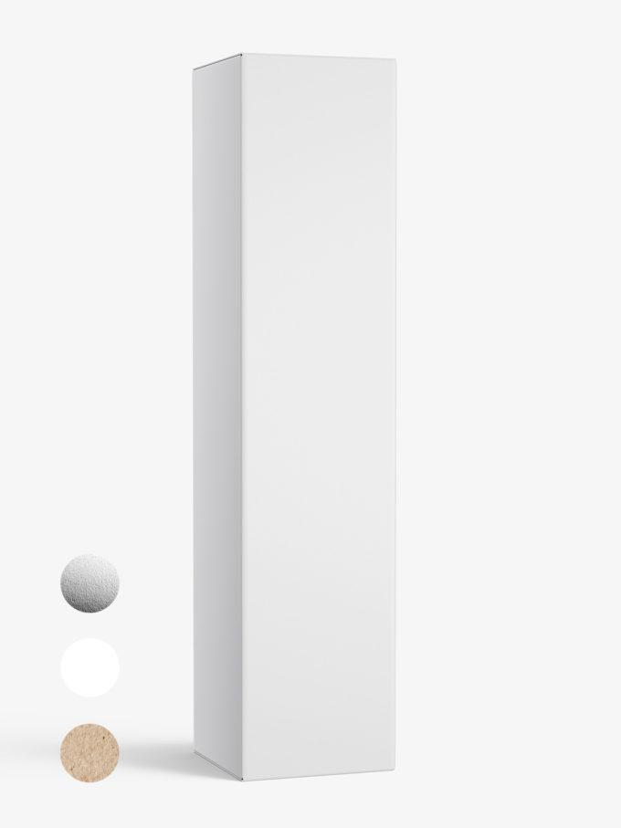 Box mockup / 45x195x45 mm / white - metallic - kraft