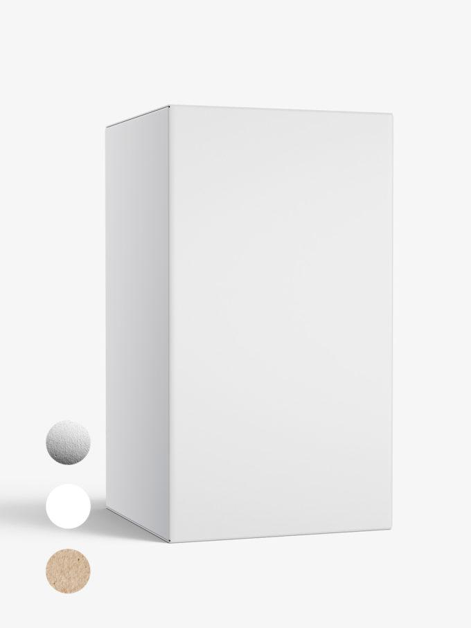 Box mockup / 65x115x65 mm / white - metallic - kraft