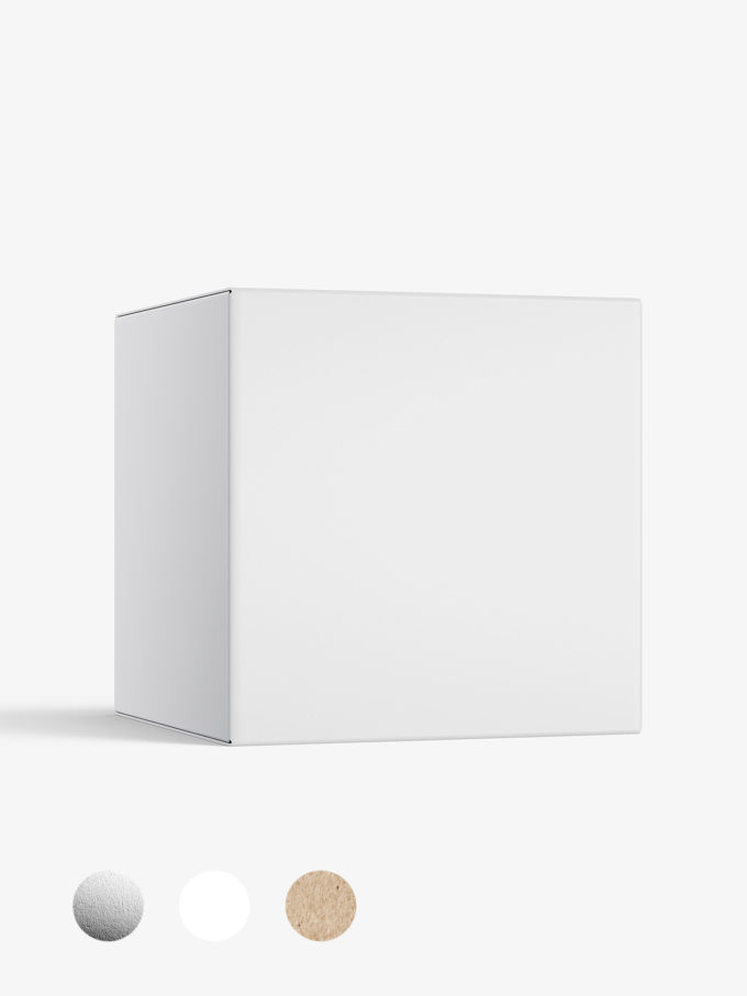 Box mockup / 70x70x70 mm / white - metallic - kraft