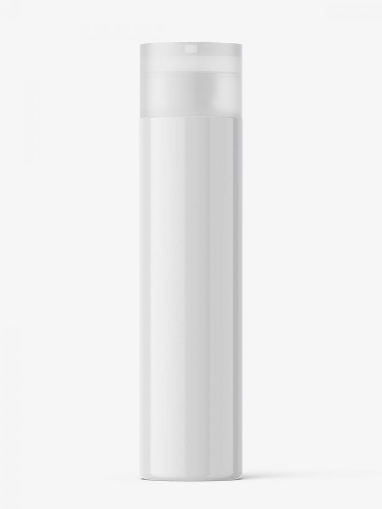 Glossy bottle with transparent disc top cap mockup