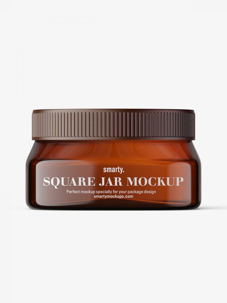Amber square base jar mockup / 4oz