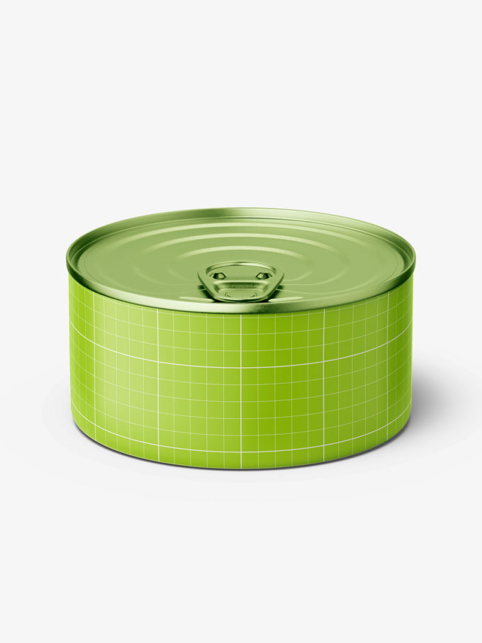 Tin can with label mockup / 185g / top view