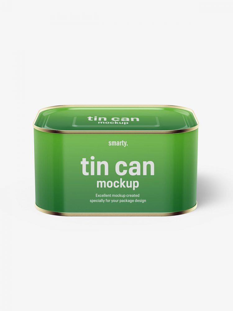 Glossy rectangle tin can mockup / 630 ml