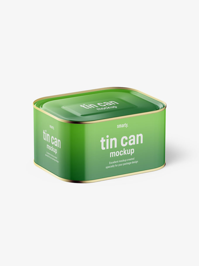 Glossy rectangle tin can mockup / 630 ml / top view