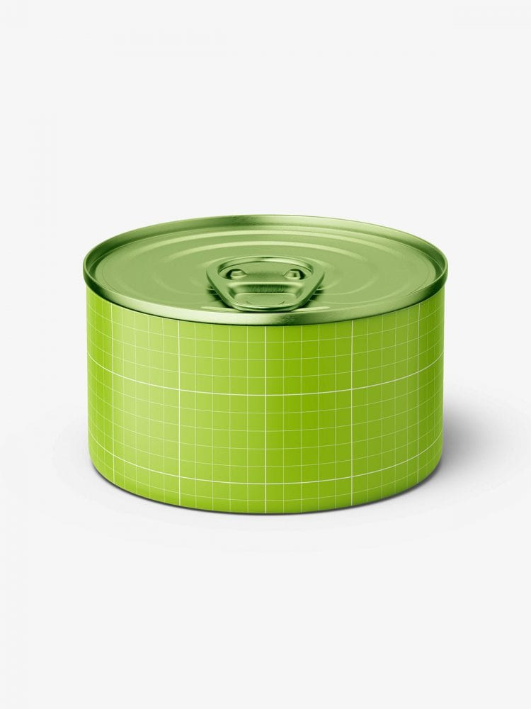 Tin can with label mockup / 95g / top view