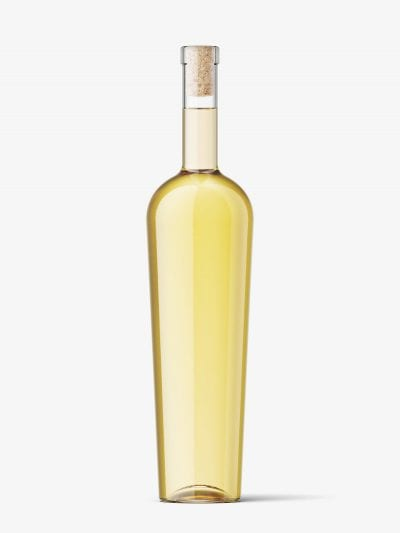 White wine bottle with and without wax seal